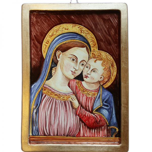 madonna del buon consiglio, madonna and child on pottery plate