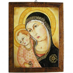 madonna del pilastro con cornice, madonna in pottery on wood