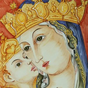 madonna dipinta a mano su ceramica, handmade in tuscan madonna