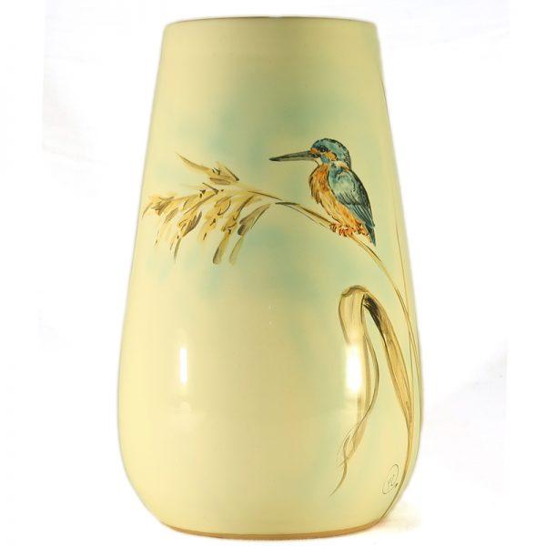 martin pescatore dipinto a mano su vaso ceramica artistica toscana, hand-painted kingfisher ceramic handmade in tuscany birds collection