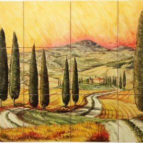 mattonelle in ceramica dipinte a mano pannello 60 x 80, handpainted ceramic tile panel