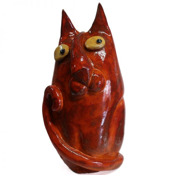 micio rosso statua ceramica artigianato toscana, red cat statue from tuscany