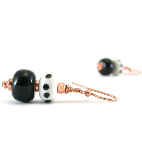 orecchini a pendente bianco e nero, black white earrings