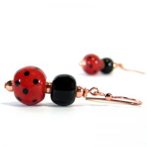 orecchini a pendente coccinella, ladybug pendant earrings