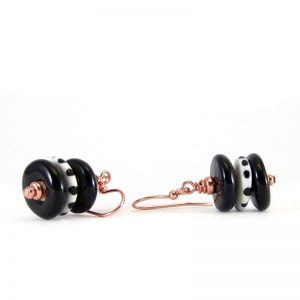 orecchini ceramica bianco e nero, black and white earrings