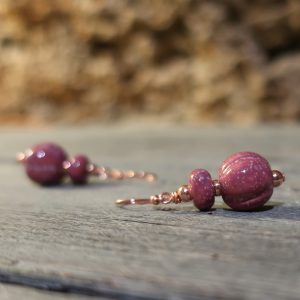 orecchini ceramica rosso nobile, burgundy earrings in pottery