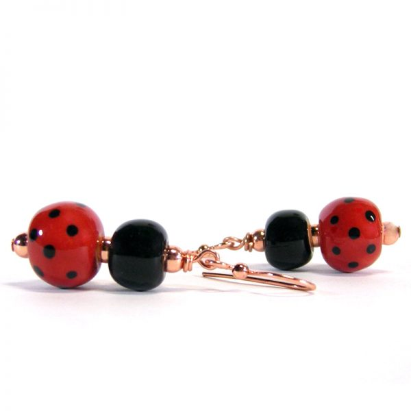 orecchini coccinella portafortuna, lucky ladybug earrings