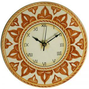orologio artigianato ceramica da parete dipinto a mano colori terra di siena, handpainted clock in ceramic made in tuscany