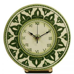 orologio da parete artigianato ceramica dipinto a mano colore verde, handpainted green clock in ceramic made in tuscany