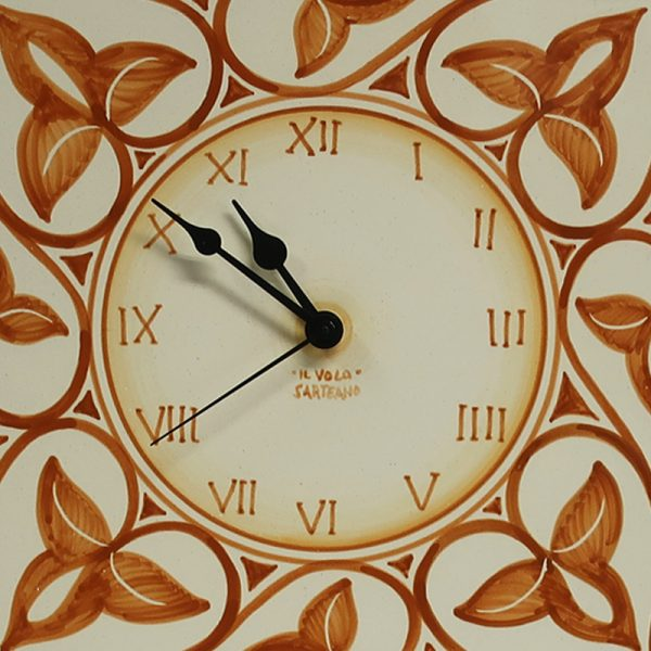 orologio da parete ceramica terra di siena dipinto a mano ceramica toscana artigianato, burnt sienna wall clock handmade in ceramic