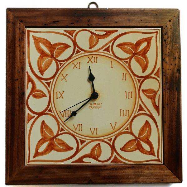orologio da parete dipinto a mano ceramica e legno, wall clock in ceramic and wood