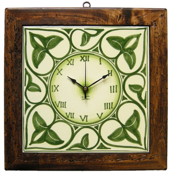 Ceramic wall clock featuring antique wooden frame. 32x32 cm.