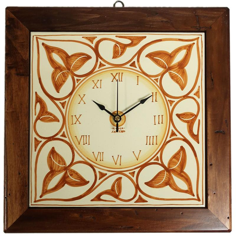 Orologio Da Parete In Ceramica Con Cornice In Legno Antico 32 32 Cm Ceramiche Il Volo