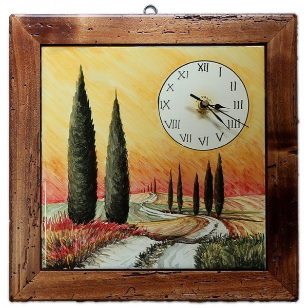 orologio in ceramica con paesaggio toscano, ceramic clock with tuscan landscape