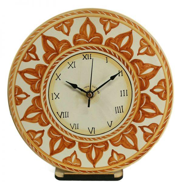 orologio in ceramica rotondo da parete dipinto a mano colori terra di siena, handpainted clock in ceramic made in tuscany