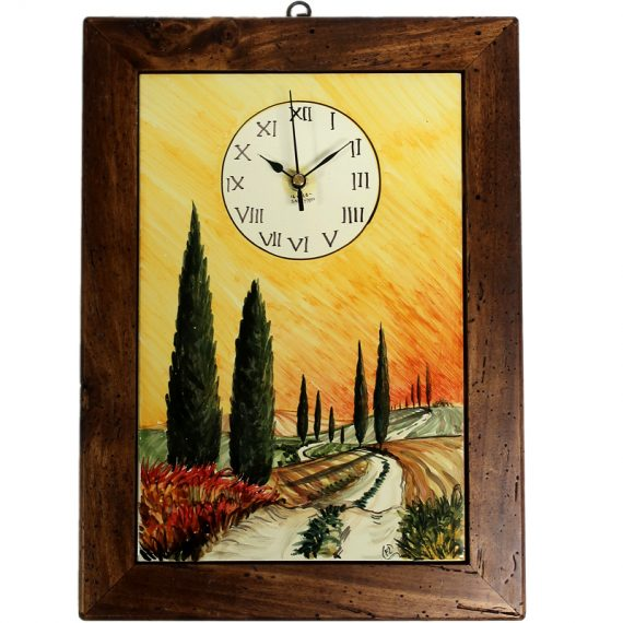 Ceramic wall clock with a painting of tuscany and antique wooden frame. 27×37 cm.