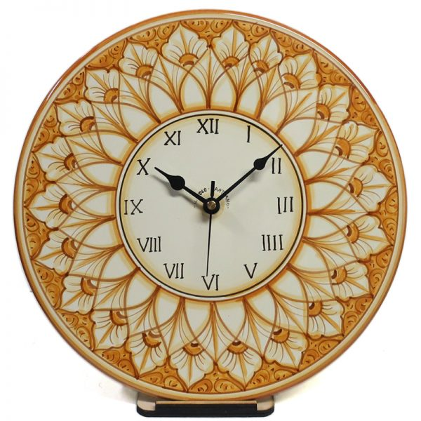 orologio rotondo da parete in ceramica dipinto a mano, hand painted clock in ceramic
