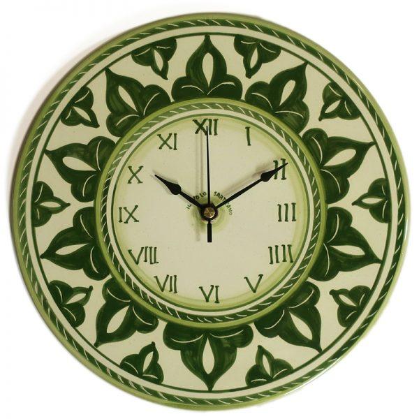 orologio verde in ceramica rotondo da parete dipinto a mano, handpainted green clock in ceramic made in tuscany