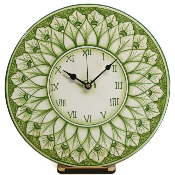 Wall clock in ceramic hand painted in green color, diameter 30 cm