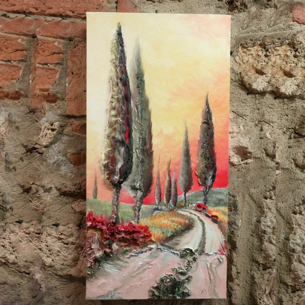 paesaggio al tramonto quadro olio su tela sarteano, sunset landscape oil painting on canvas made in tuscany