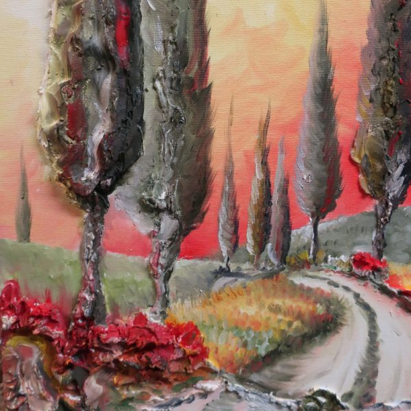 paesaggio al tramonto quadro olio su tela toscana, sunset landscape oil painting on canvas made in tuscany