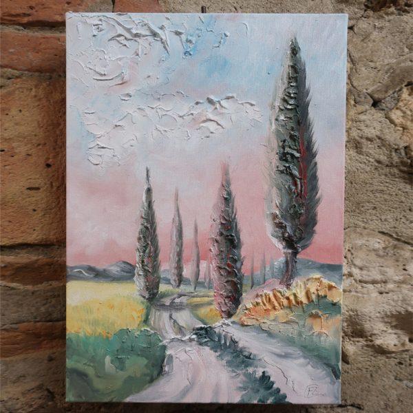 paesaggio alba olio su tela di fabrizio rocchi, landscape sunrise oil painting on canvas by fabrizio rocchi