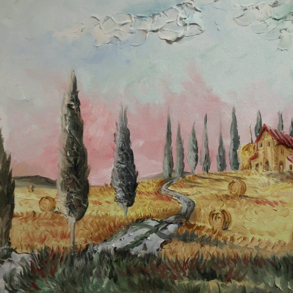 paesaggio toscana dipinto a mano olio su tela, tuscan landscape painting oil on canvas