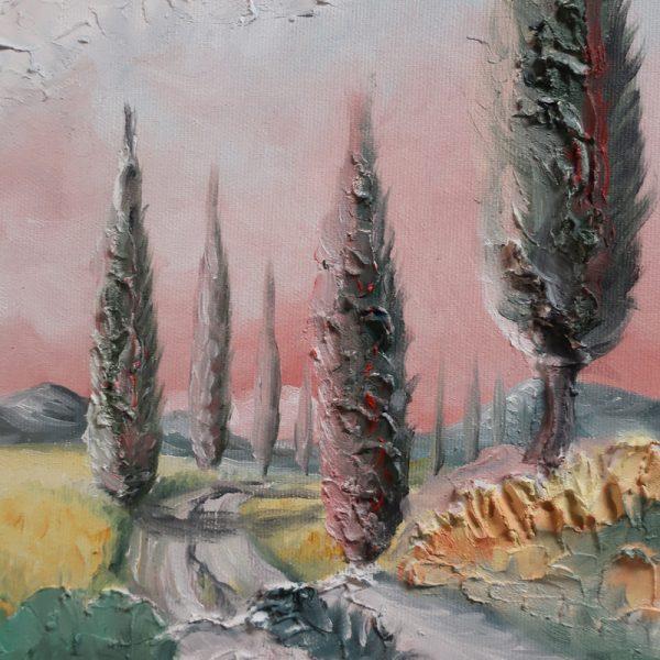 paesaggio toscana olio su tela sarteano, landscape tuscany oil on canvas