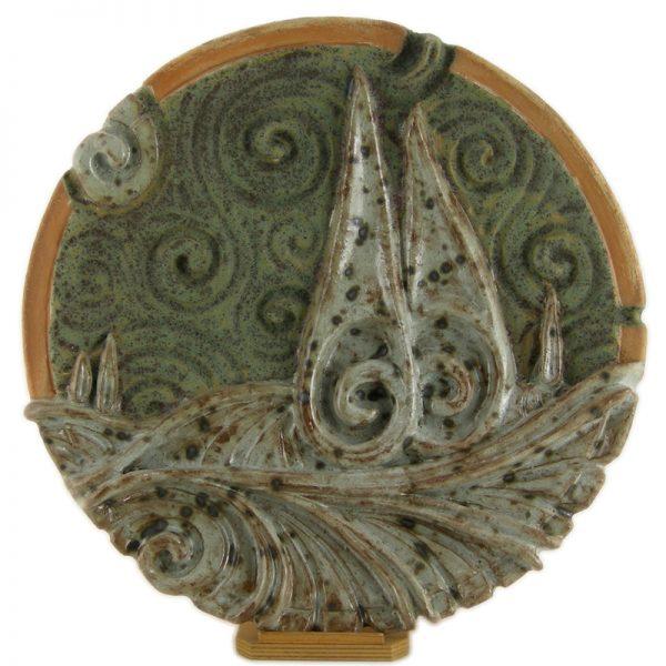 paesaggio toscana scultura ceramica, tuscany landscape sculpture in pottery