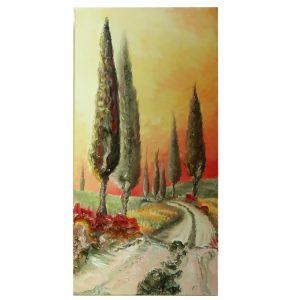 paesaggio tramonto toscana quadro olio su tela, sunset landscape tuscany painting oil on canvas