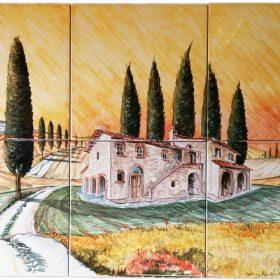 pannello di mattonelle in ceramica dipinto a mano, handpainted ceramic tile panel