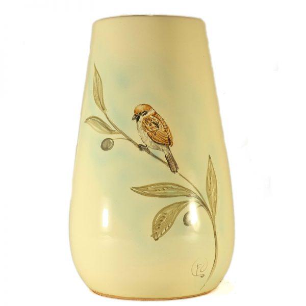 passero dipinto a mano su vaso ceramica artistica toscana, hand-painted sparrow tuscany ceramic birds collection