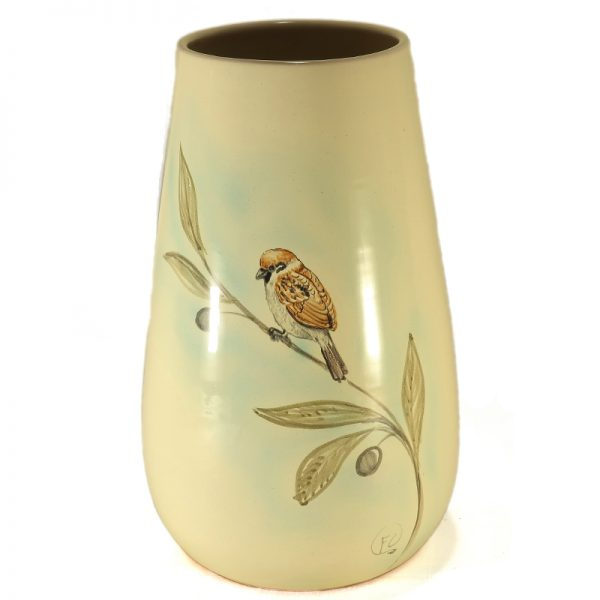 passerotto dipinto a mano su vaso ceramica artistica toscana, hand-painted sparrow ceramic handmade in tuscany birds collection