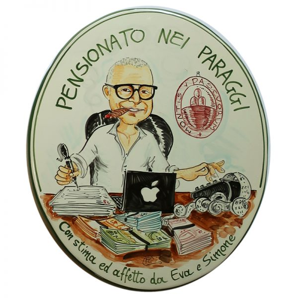 pensionamento festa pensione caricatura dipinta a mano stile fumetto, hand painted caricature in comics style for retirement