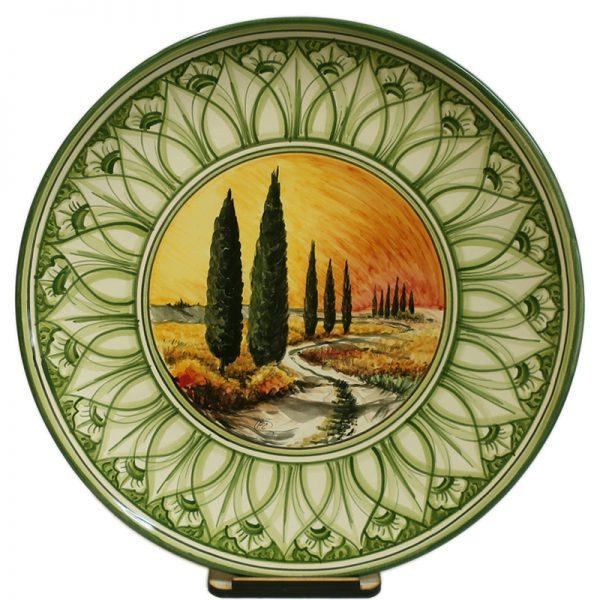 piatti da parete in ceramica dipinto a mano con paesaggio toscano, ceramic plate handpainted with view of tuscany