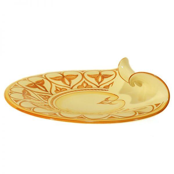 piatto centrotavola ceramica artigianato toscana, plate centerpiece in pottery handcrafted in tuscany