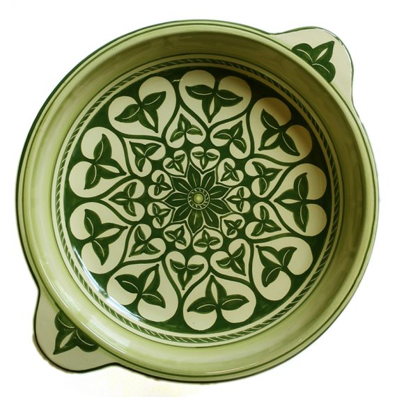 Green centerpiece in ceramic handmade in Italy, green color decoration on cream colored background, 35 cm.