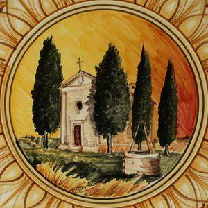 piatto ceramica dipinto a mano con cappella della madonna di vitaleta handpainted plate in ceramic