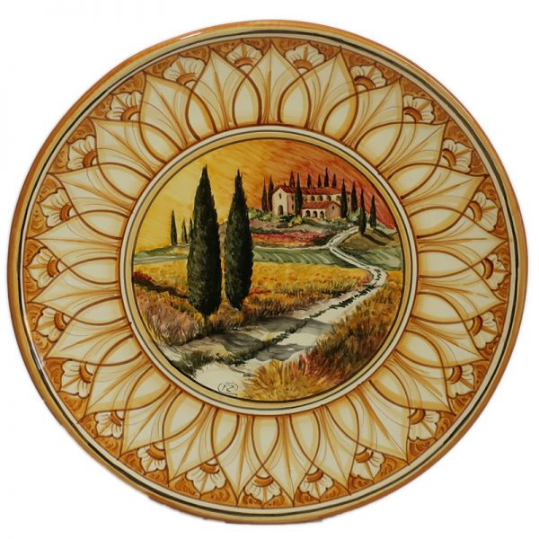 piatto ceramica dipinto a mano con paesaggio e podere, ceramic plate handpainted with country house