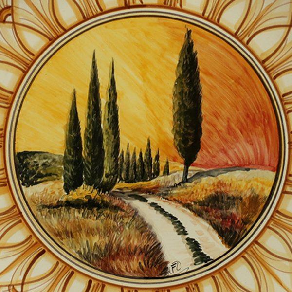 piatto ceramica toscana dipinto a mano, plate handpainted tuscany ceramic art