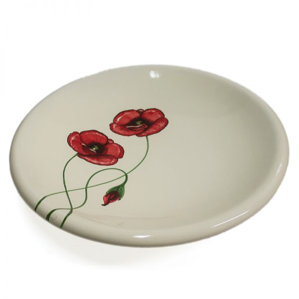 piatto con papaveri rossi, red poppies ceramic plate