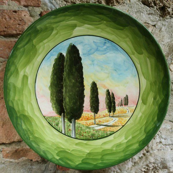 piatto da parete ceramica toscana artigianato artistico, wall plate in ceramic with handpainted tuscany landscape