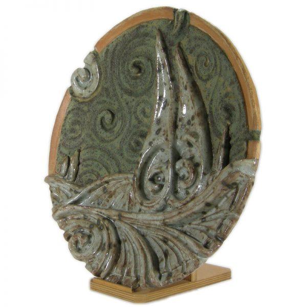 piatto da parete scultura ceramica, wall plate sculpture in ceramic