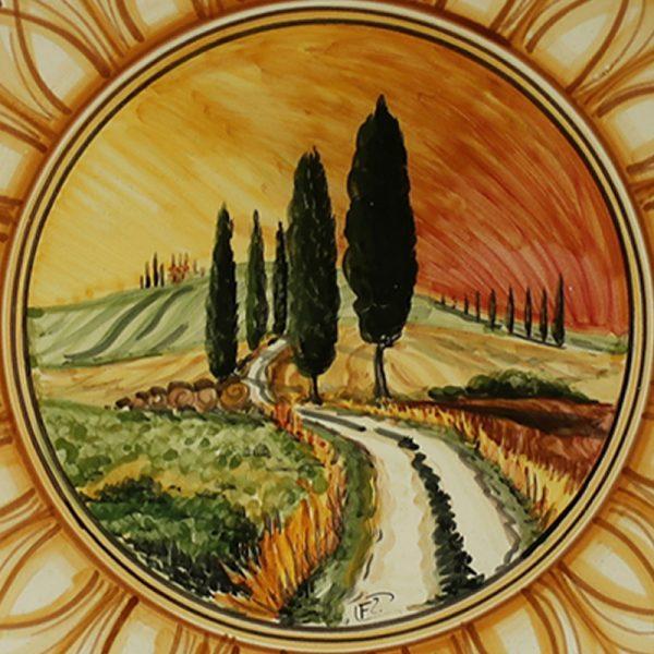 piatto in ceramica dipinto a mano terra di siena con paesaggio, ceramic plate burnt sienna color with handpainted landscape