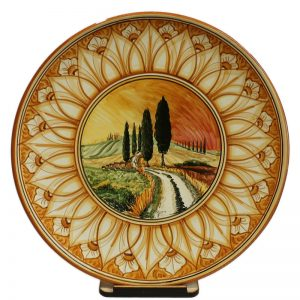 piatto in ceramica terra di siena con paesaggio, ceramic plate burnt sienna color with landscape