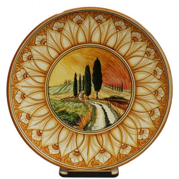 piatto in ceramica terra di siena con paesaggio, ceramic plate burnt sienna color with landscape
