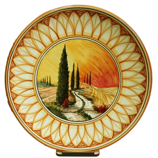piatto ornamentale Toscana in ceramica, Tuscany ornamental pottery plate