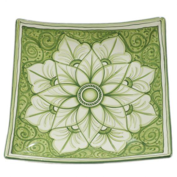 Squared bowl in ceramic handpainted in green color. 37×37 cm