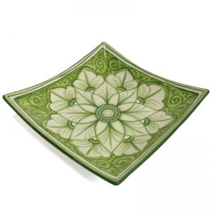 piatto quadrato in ceramica dipinto a mano, handpainted squared plate in ceramic