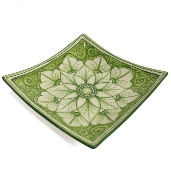piatto quadrato in ceramica dipinto a mano, handpainted squared plate in ceramic